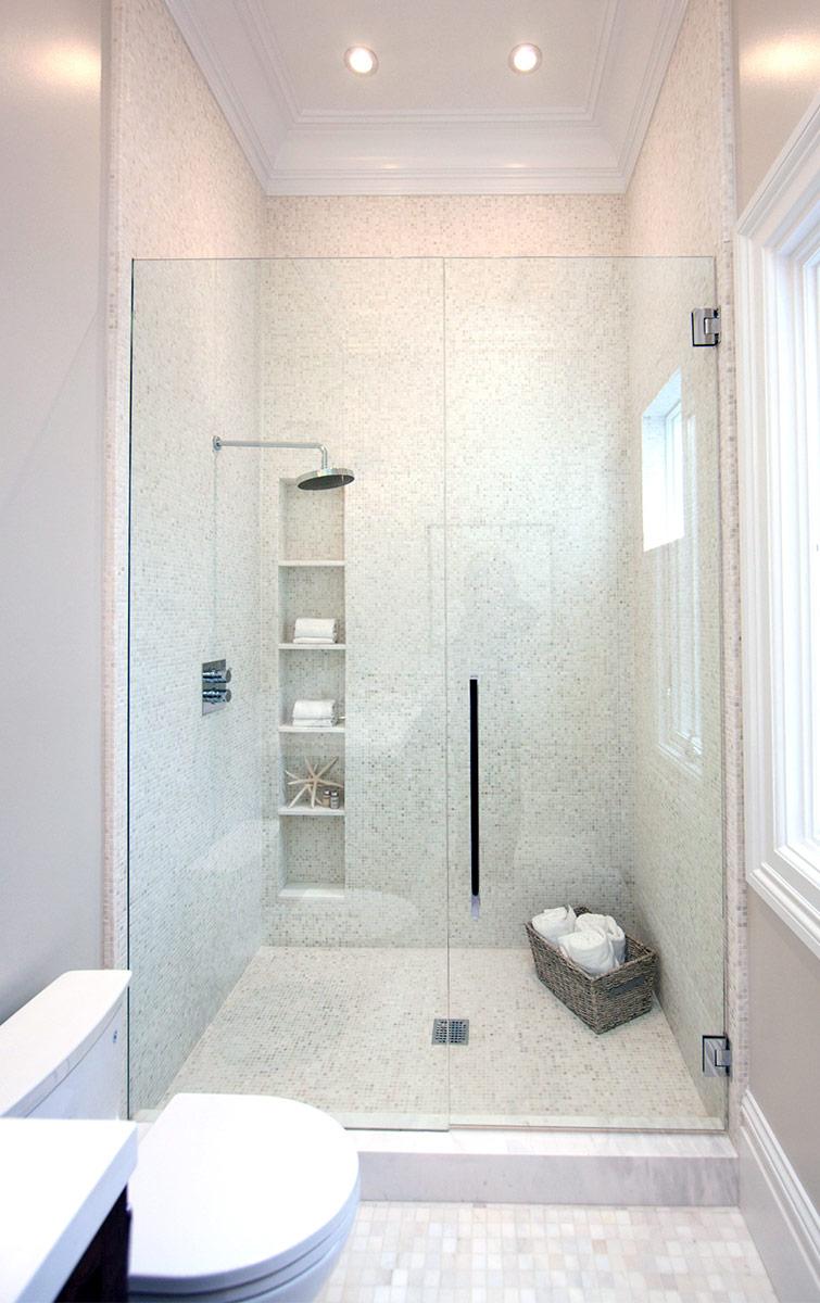bathroom, shower, modern bath, subway tiles, marble bathroom, rain shower