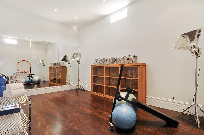home gym, fitness center, exercise room, gym equipment, yoga studio,
