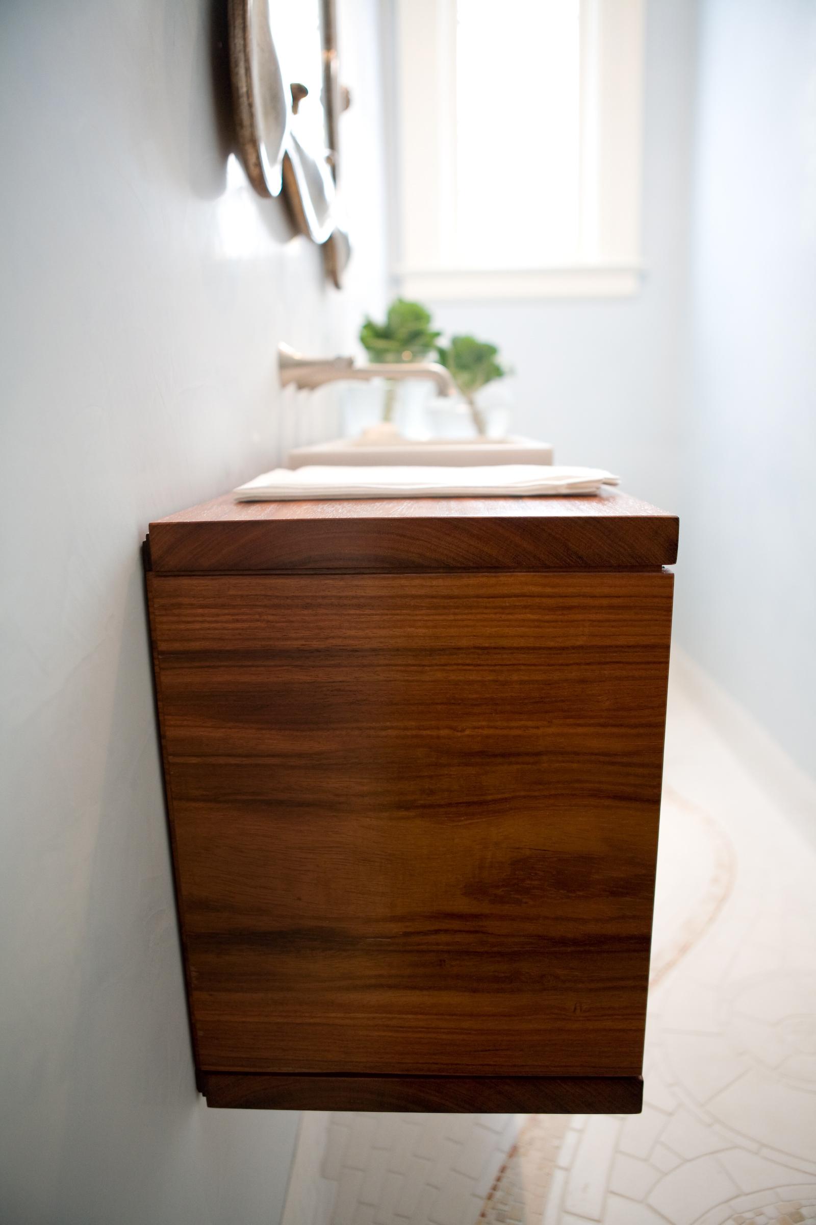 bathroom, simple, dark wood, mosaic tile, sink, mirror, modern finishes,