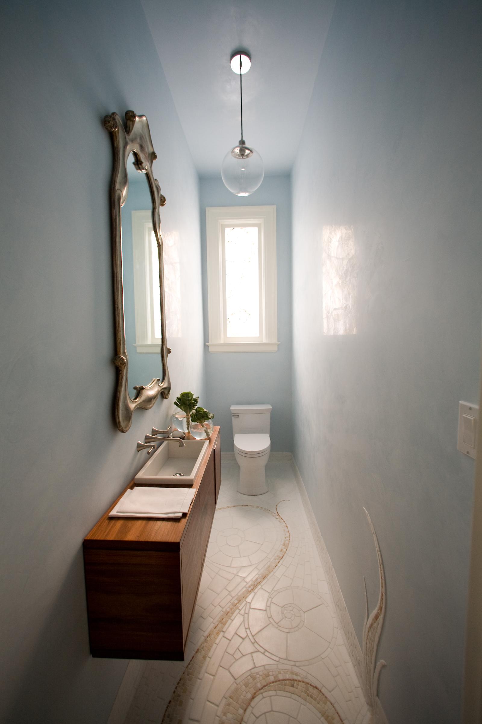 bathroom, wood, simple, elegant, marble, mirror, chandelier, mosaic tile, stone