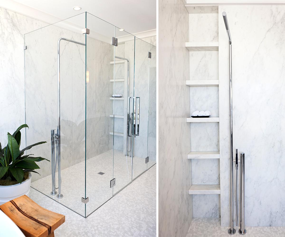 bathroom, white, marble, clean, light, marble shelving, shower, plant, shower head, glass