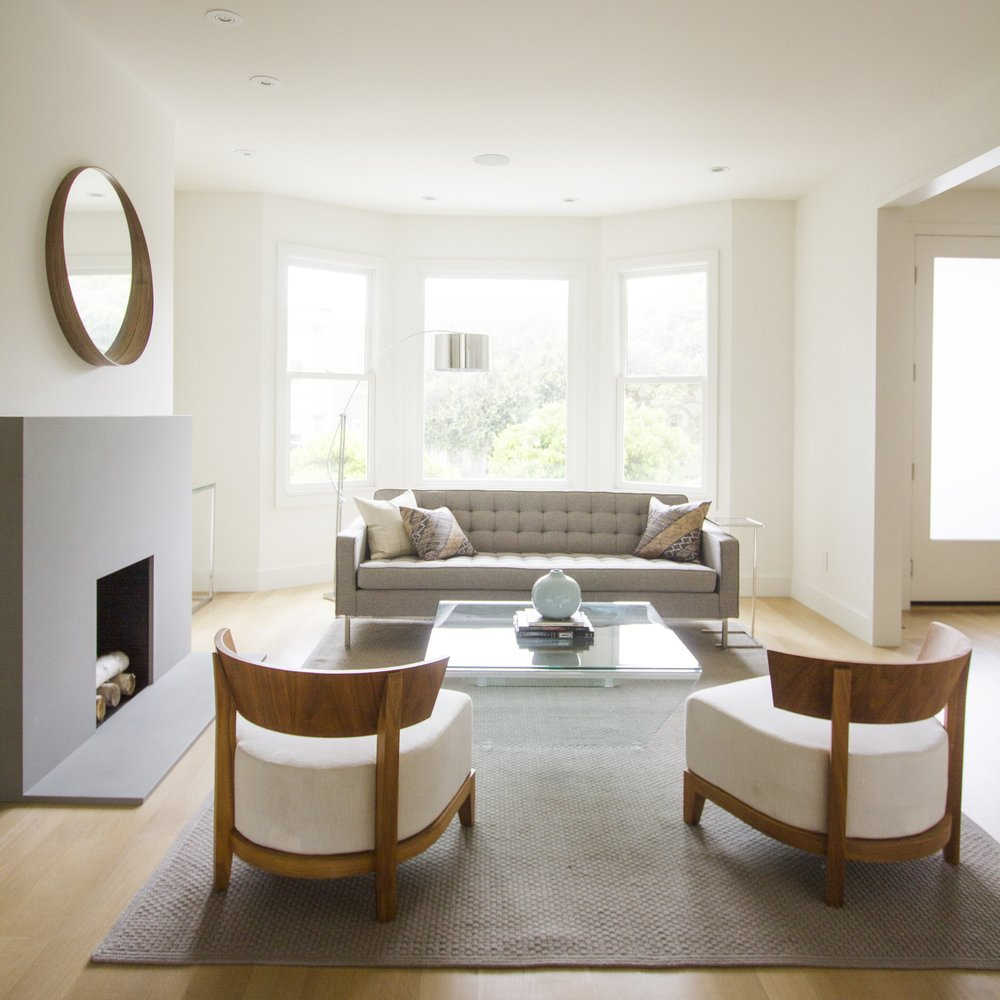 fireplace, modern, midcentury modern, simple, living room, mirror, coffee table, light,