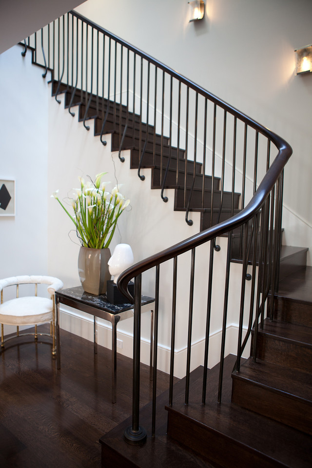 modern, textures, hardwood floors, traditional staircase, stair railing, spiral staircase