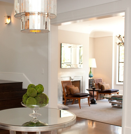entry, chandelier, entry table, staircase, living room