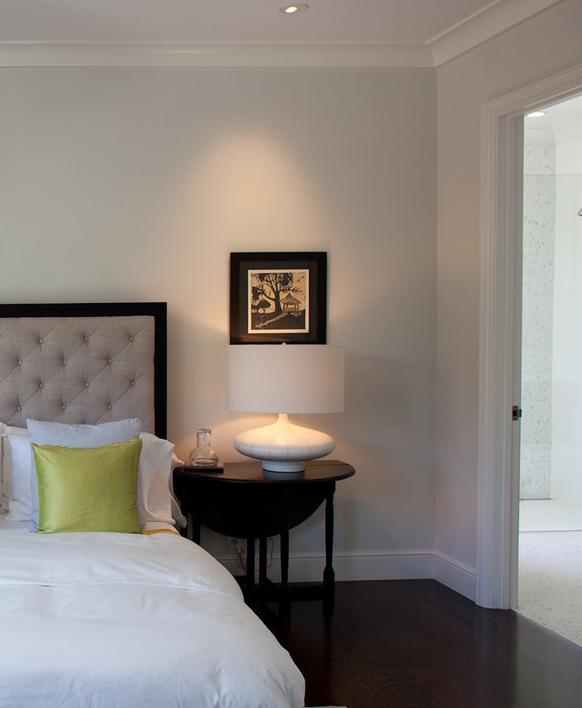 bedroom, bedside table, table lamp, bed, headboard