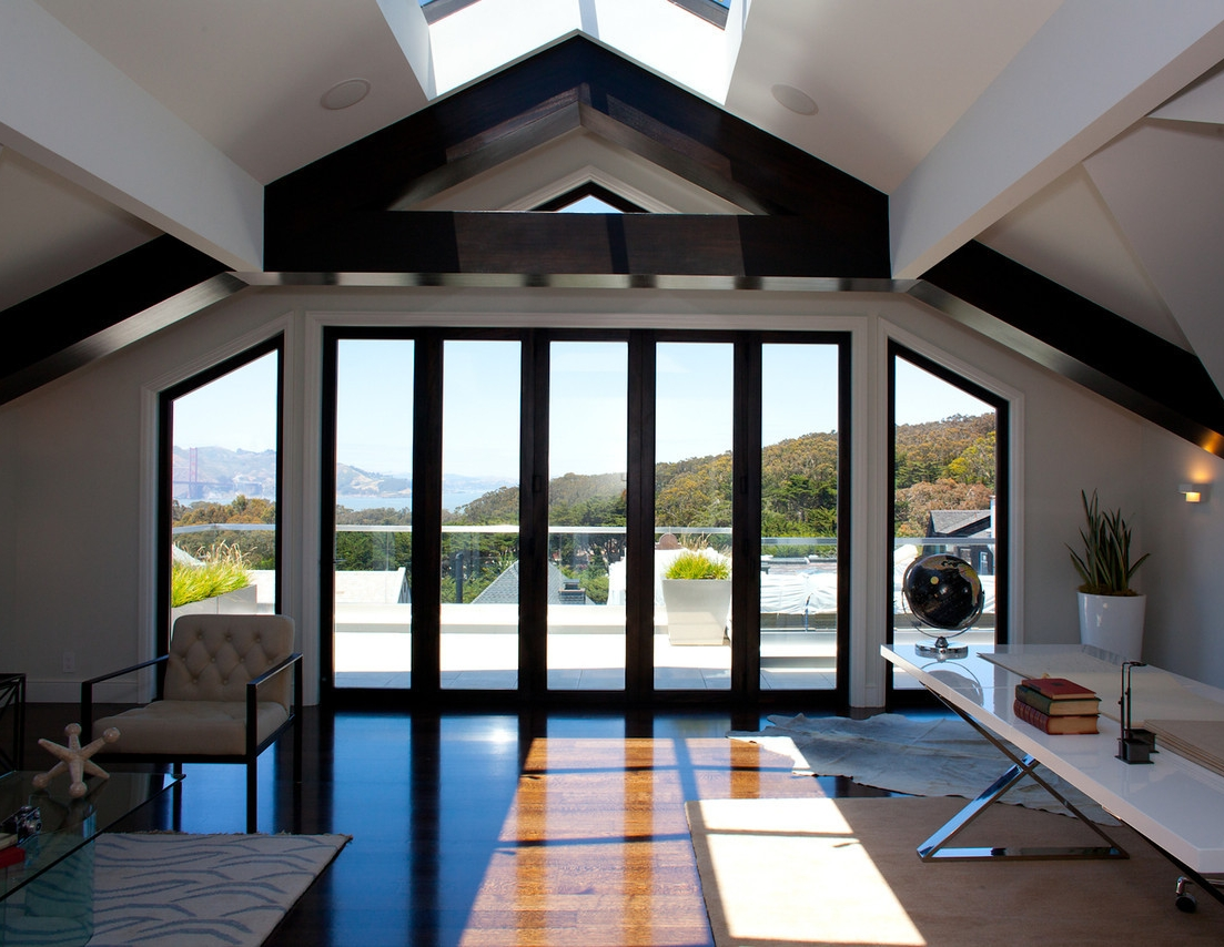 attic remodel, open floor plan, sliding door, desk, office, modern desk, white desk