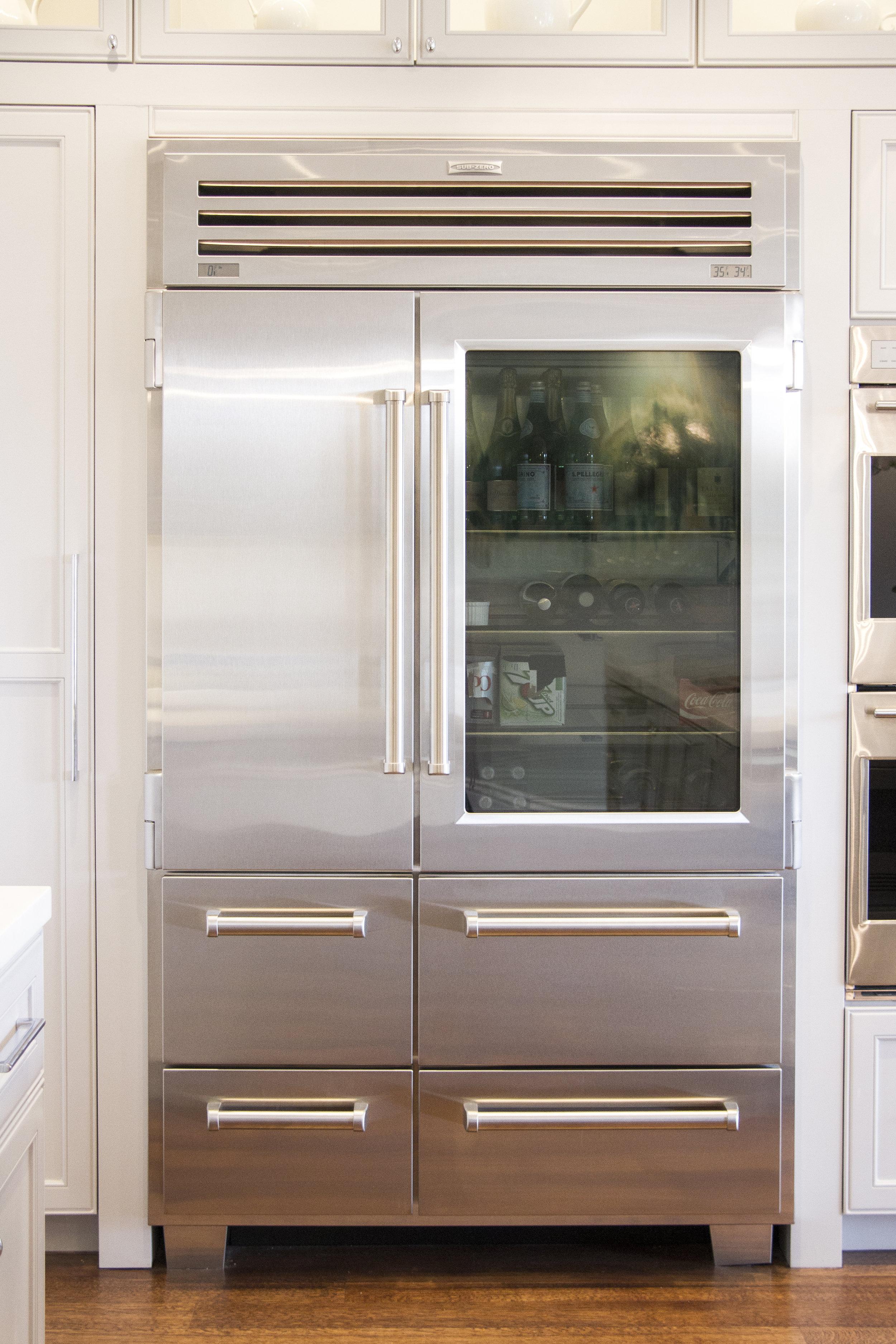 kitchen, fridge, stainless steel, white kitchen, simple, lighting, window cabinets, hardwood floor