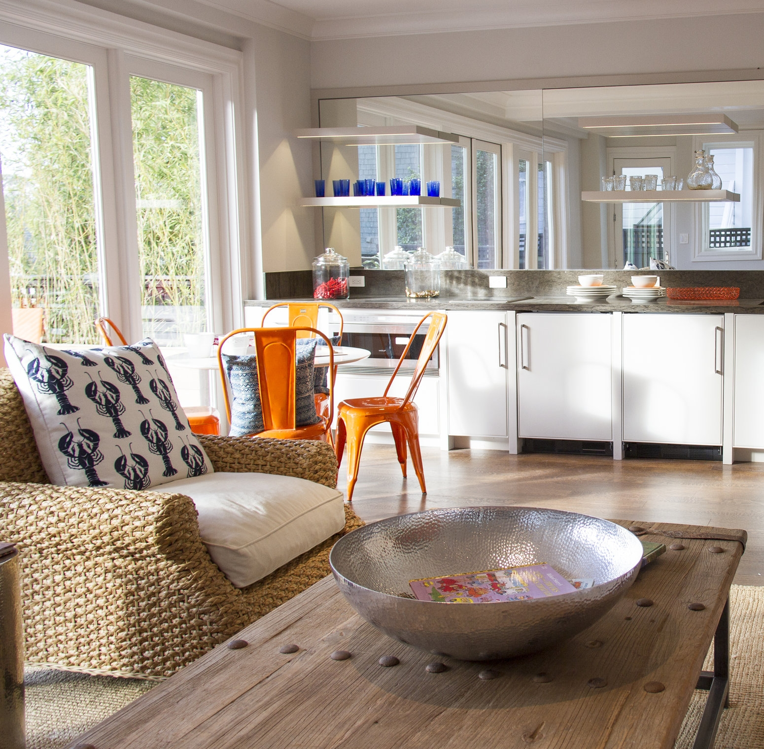 kitchen, dining area, white, color, seating area, simple, mirror, hardwood floor, open shelving