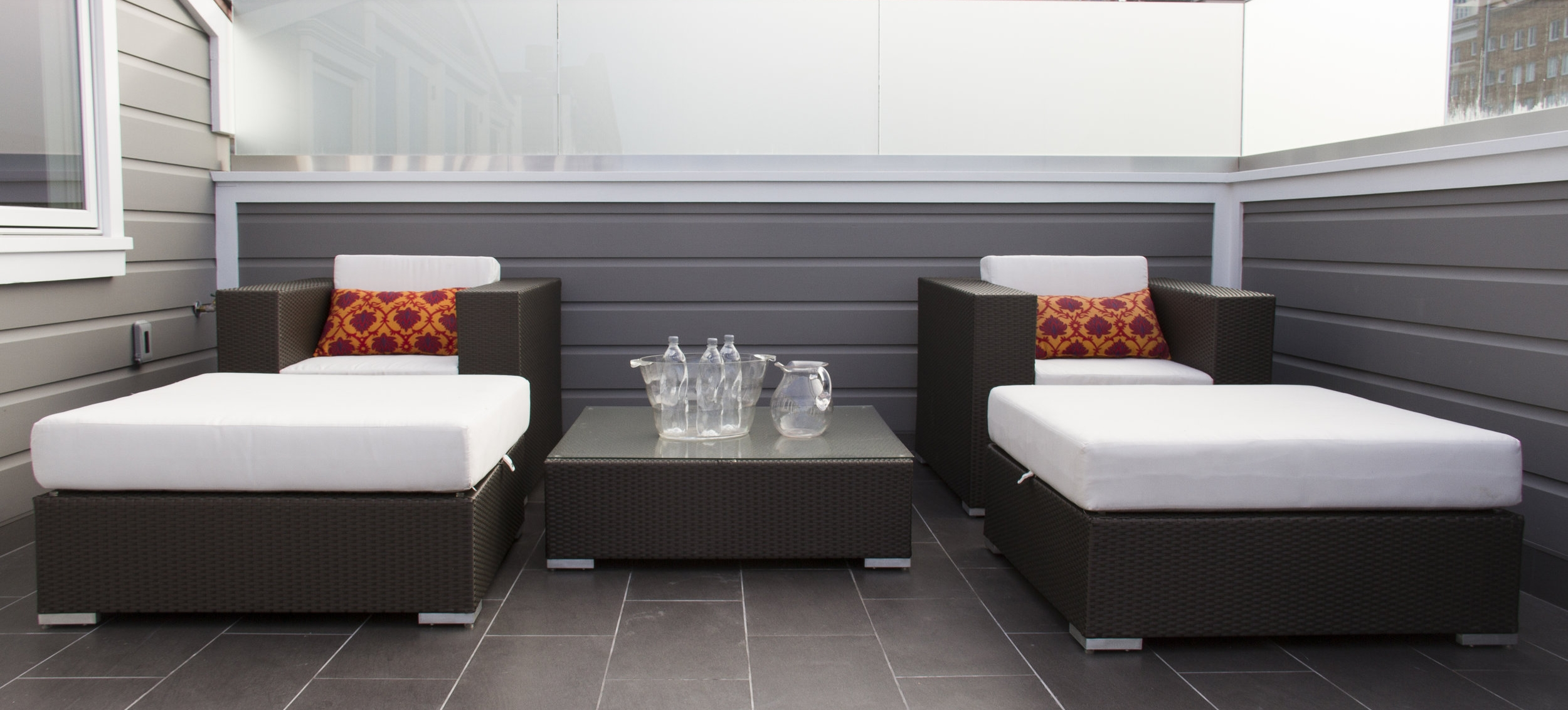 patio, patio furniture, seating, chairs, lounge chairs, modern, white cushions