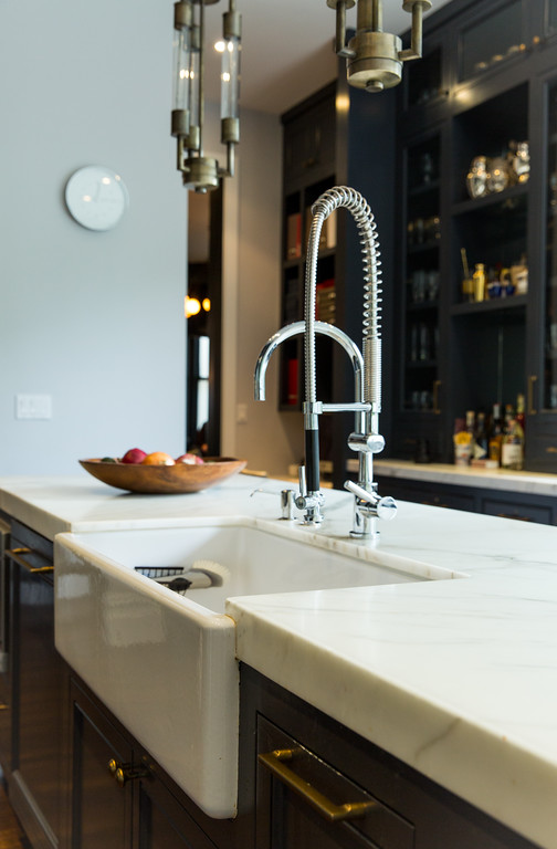 farm sink, polished chrome faucet, prep sink, marble counters