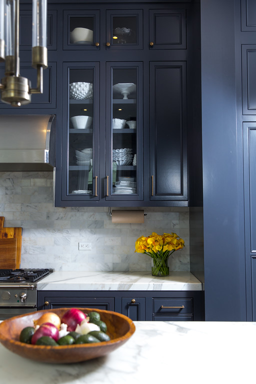 blue kitchen cabinets, benjamin moore, subway tiles, marble backsplash, stove top, range, stainless steel
