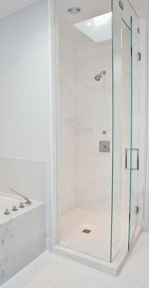 shower, modern, marble, tiling, chevron tile