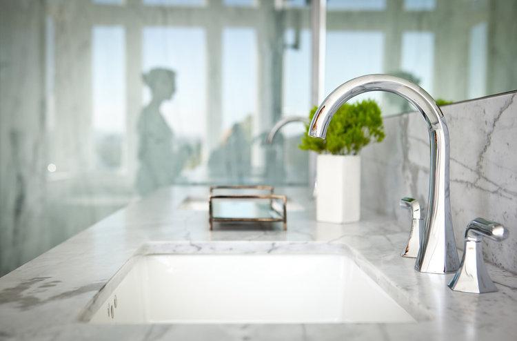 carrara marble, polished chrome, bathroom vanity