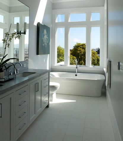 bathroom, vanity, tub, modern, classic, polished nickel