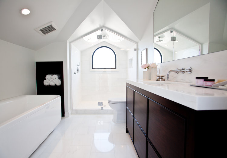 bathroom, vanity, shower, tub, bath, angles, towel storage, design