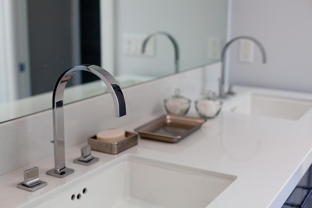 modern, faucet, bathroom, vanity, polished nickel, quartz
