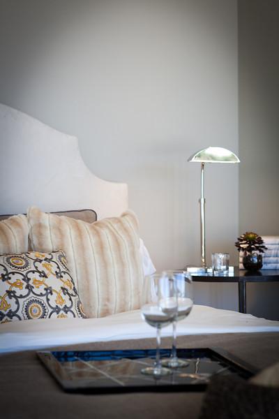 Lighting, lamp, detail, bedroom, pillows, side table, tray, headboard