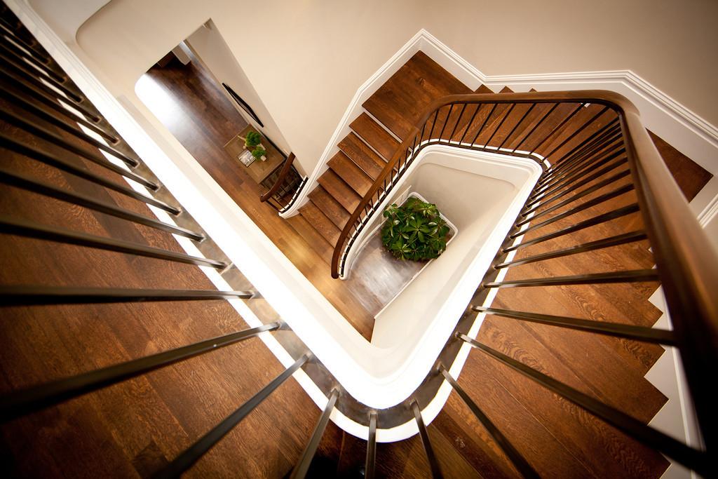 stairs, stairway, wood, railing, metal, steel