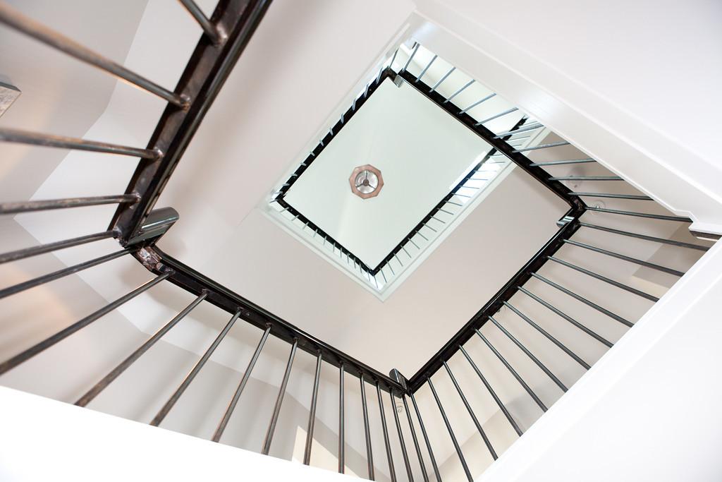 spiral staircase, detail, steps, metal, wood, railing