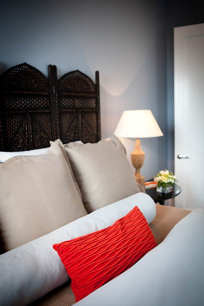 bedroom, bed, sheets, pillows, headboard, throw pillows, blanket, accessories, side table, light, lamp