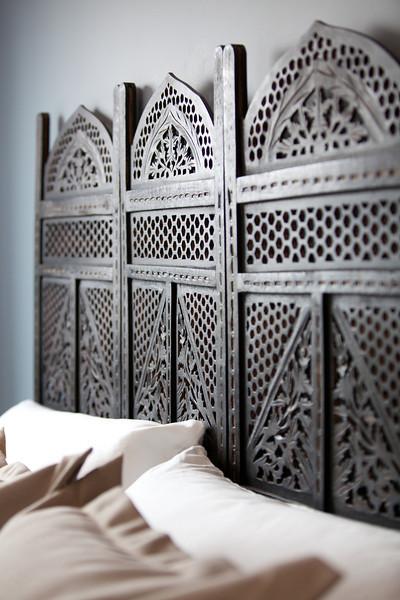 bed, bedroom, headboard, asian, antique, pillows, decor