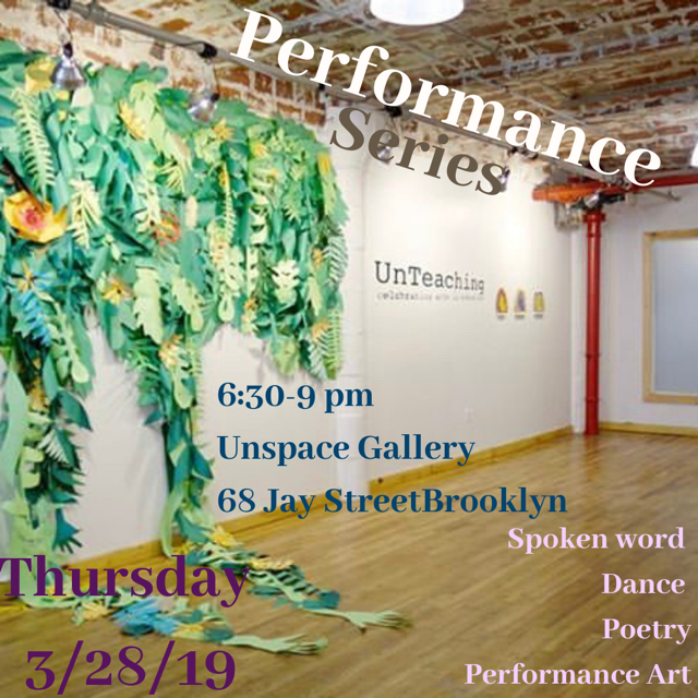 "Thursday, 3/27/19 - performance of some Focus Meditations from ""The Noisy Void"" at UNspace in DUMBO"