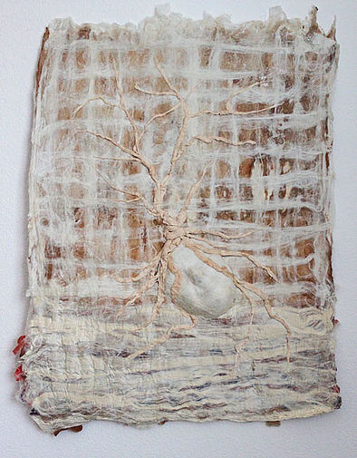 """""""Listening"""" by Catherine Foster 26""""W x 35""""L x 2""""D Silk Fusion with Paper Sculpture"""