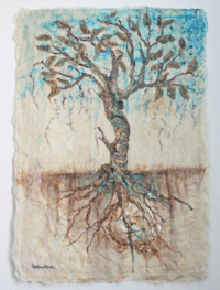 Mixed Media Sculpture Silk Fiber and Cast Paper