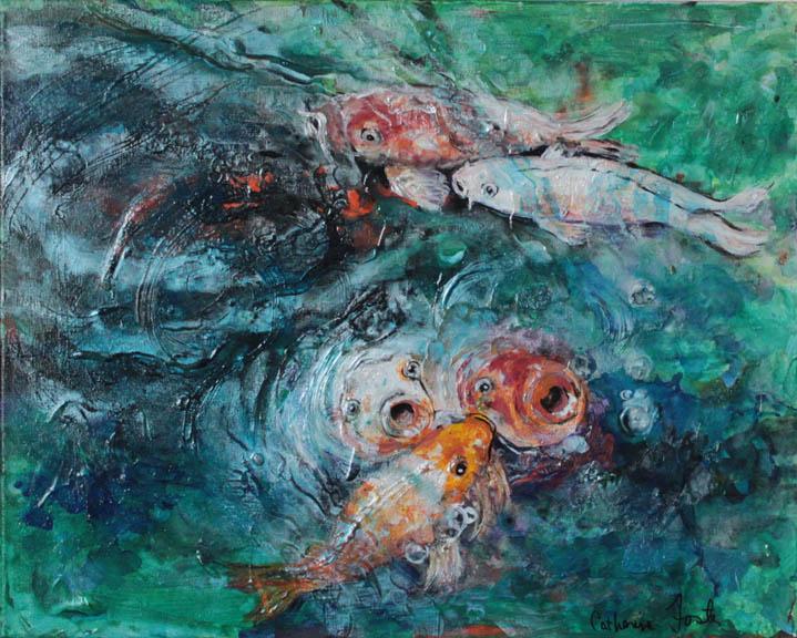 koi fish eating