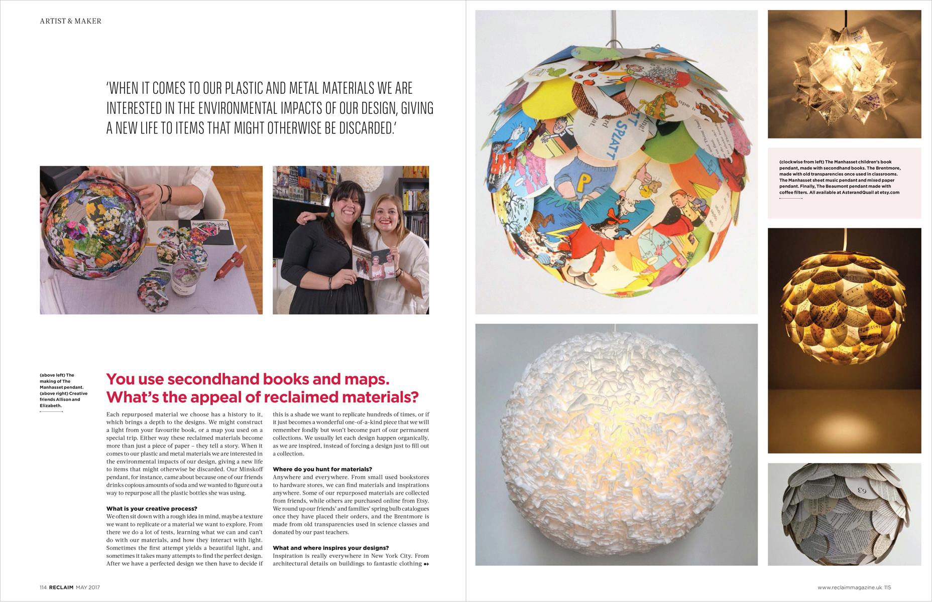Aster + Quail Reclaim Magazine Feature