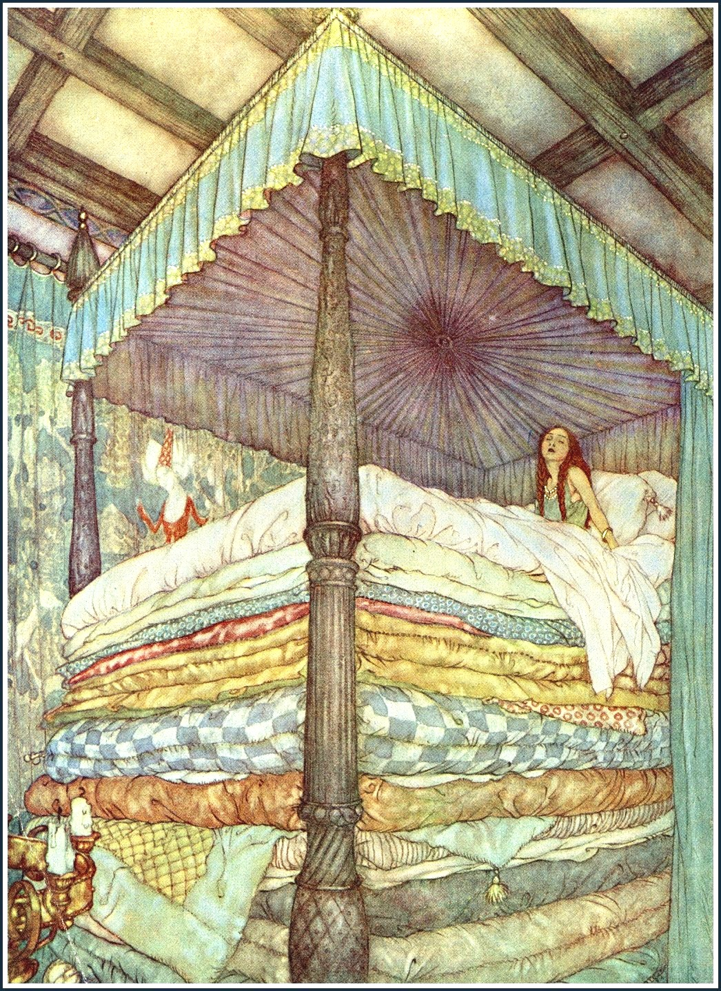 The Princess and the Pea  (1911)  -  Edmund Dulac