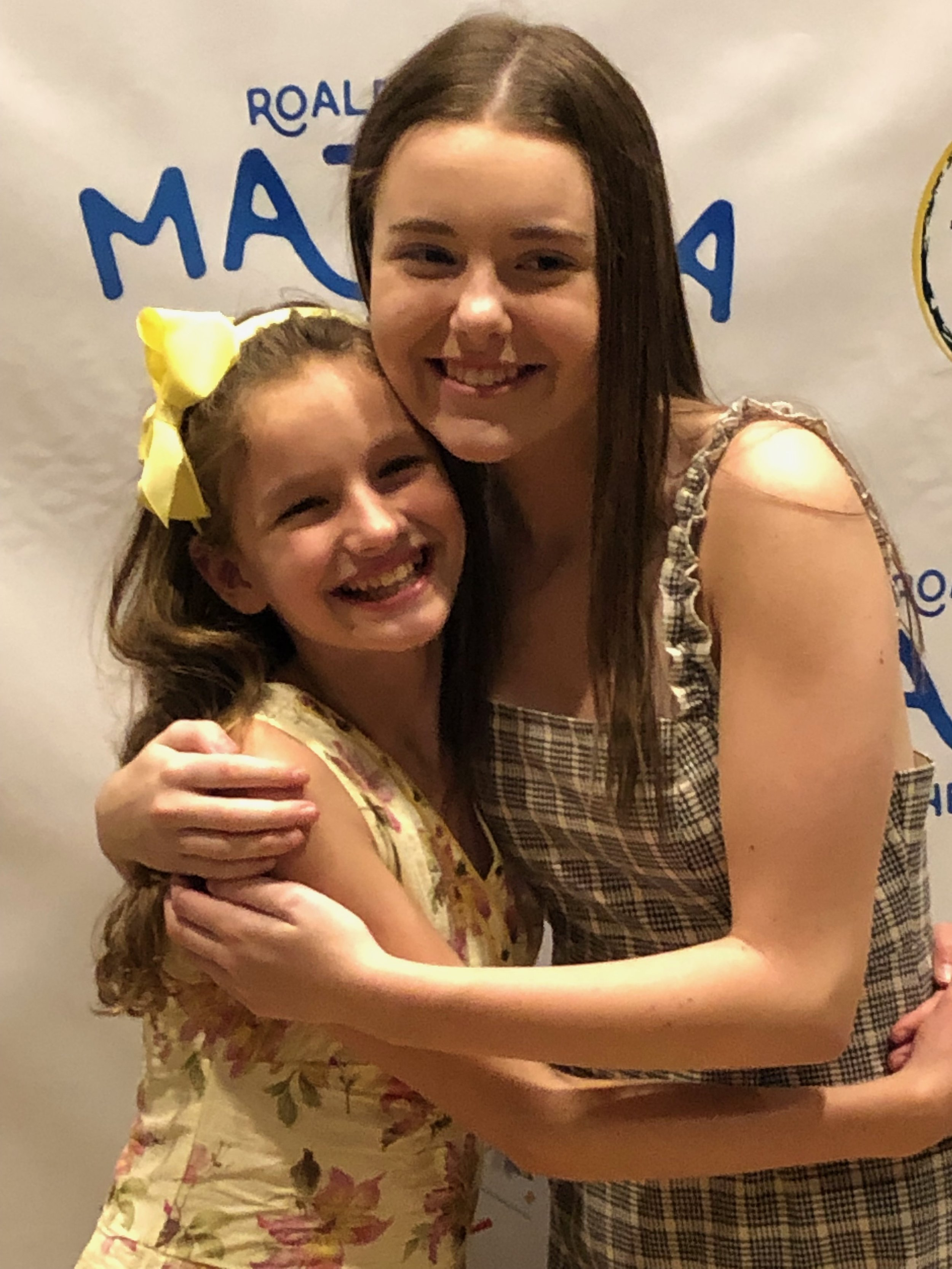 YAA students, Ellie Coffey and Ella Coulson on Opening Night of MATILDA
