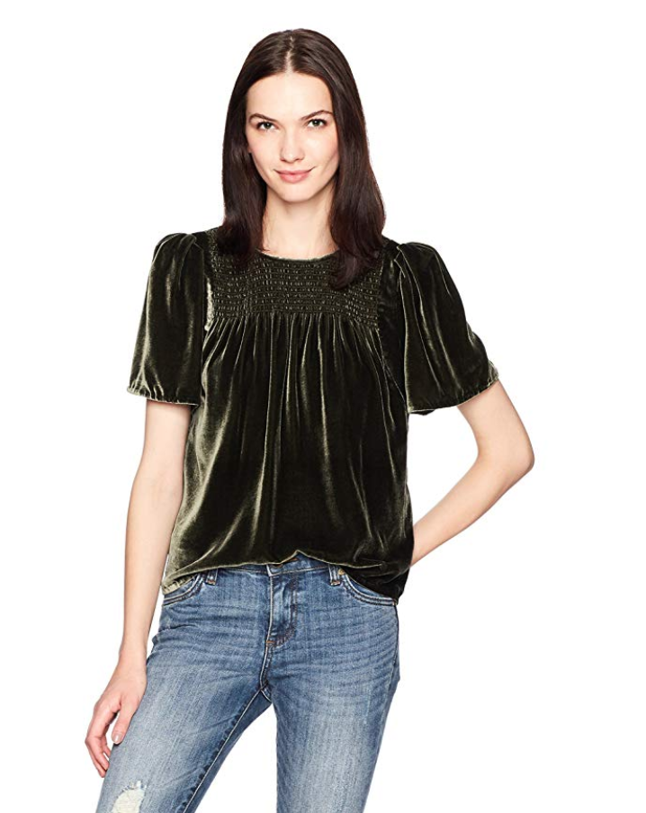 rebecca taylor womens short sleeve velvet top in green