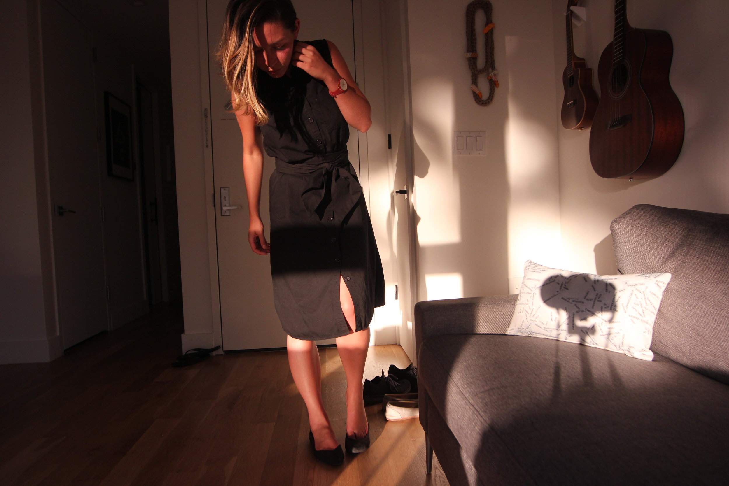 black poplin cotton shirt dress