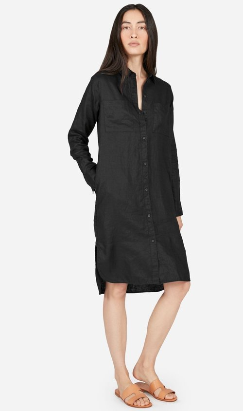 everlane black linen shirt dress, long sleeve