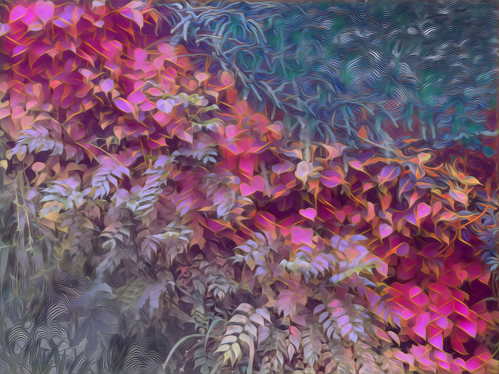 """""""A picture of a wall full of diverse types of plants that I ran through a lot of different styles and blended together. I was trying to create some reflection of the variety of plants in the picture I originally took in the diversity of the aesthetics applied to it."""""""
