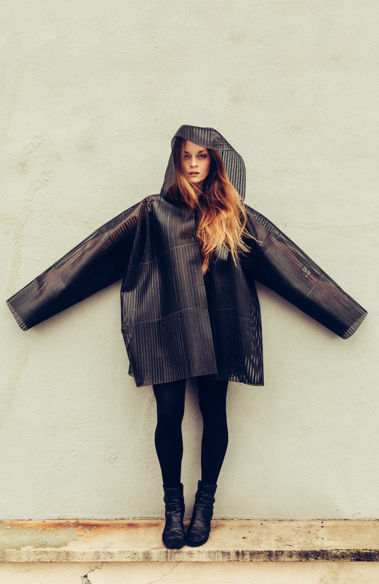 HEISEL Custom 3D printed coat - made with a body scan and out of recyclable materials