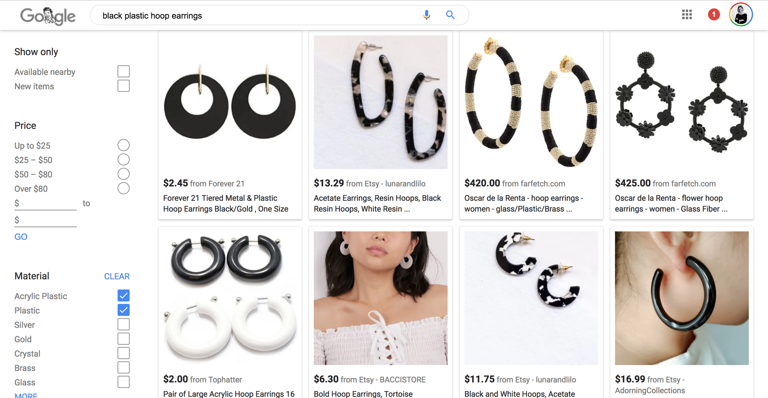 Google search large black hoop earrings