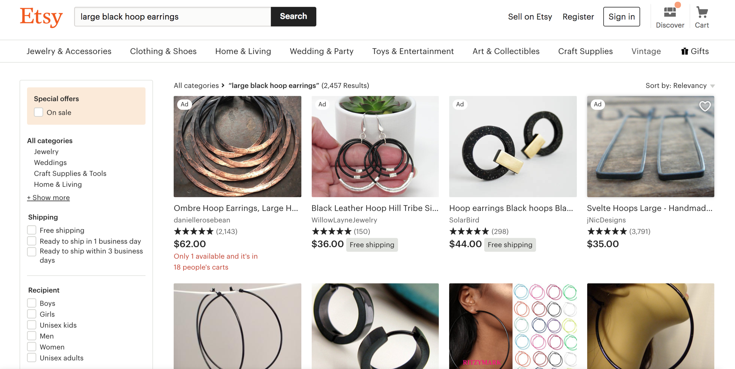 etsy black hoop earrings search results