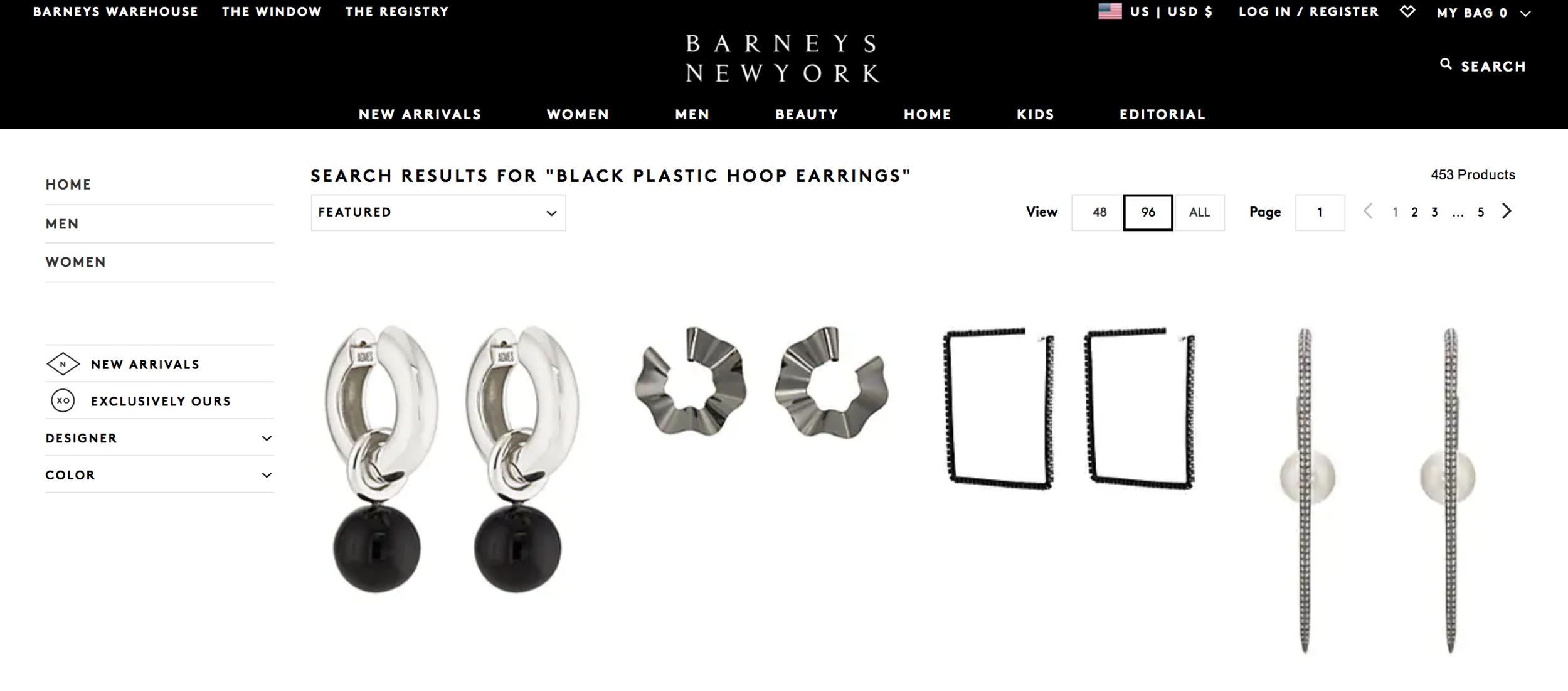barney's black hoop earrings search results
