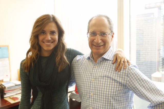 CEO Tom Goodman with actress Allison Williams on set at Goodman Media's office.