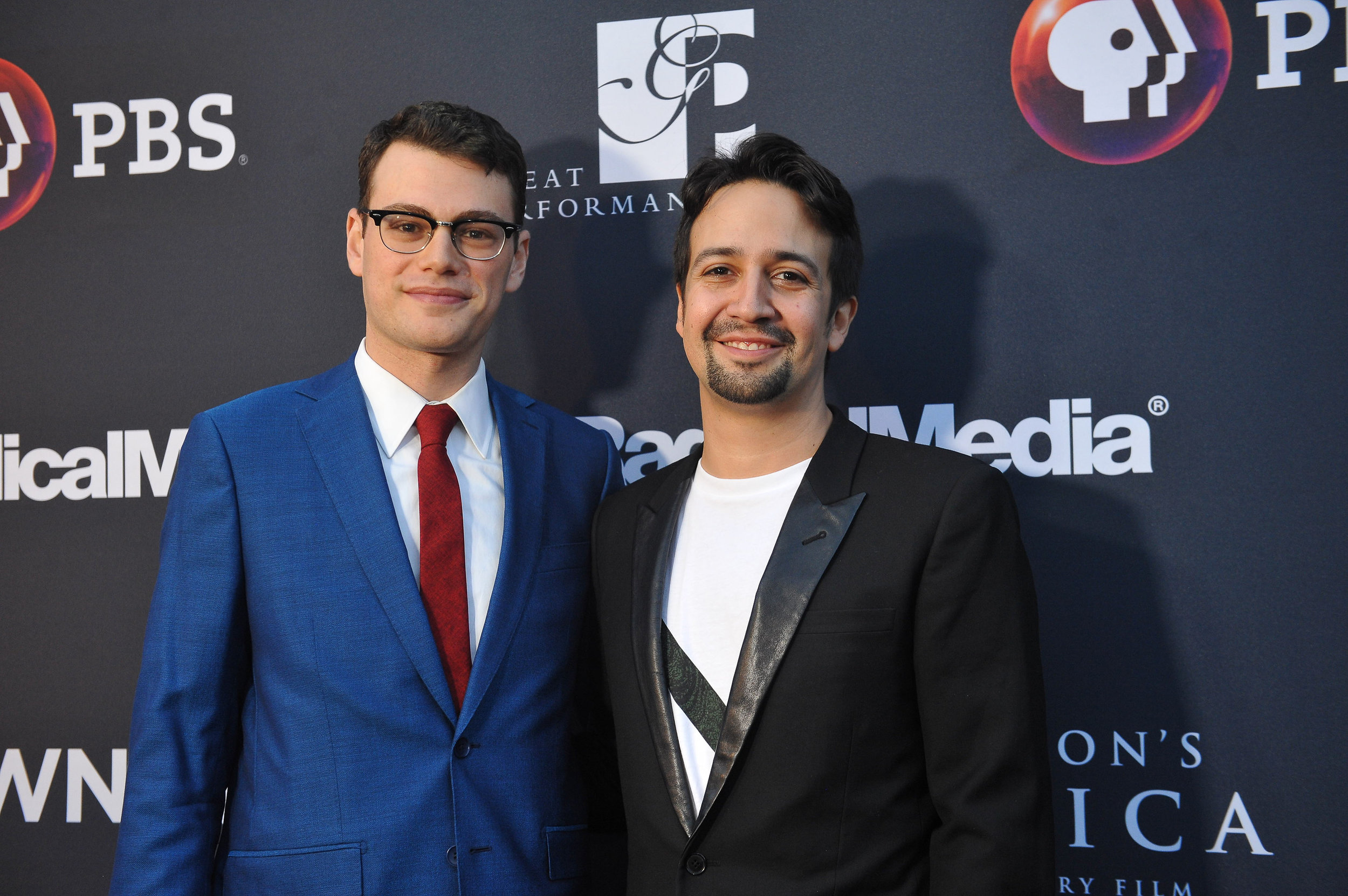 "Alex Horwtiz and Lin-Manuel Miranda on the red carpet at the official screening of ""Hamilton's America"" at the Union Palace Theatre in Washington Heights.  ©Stephanie Berger"
