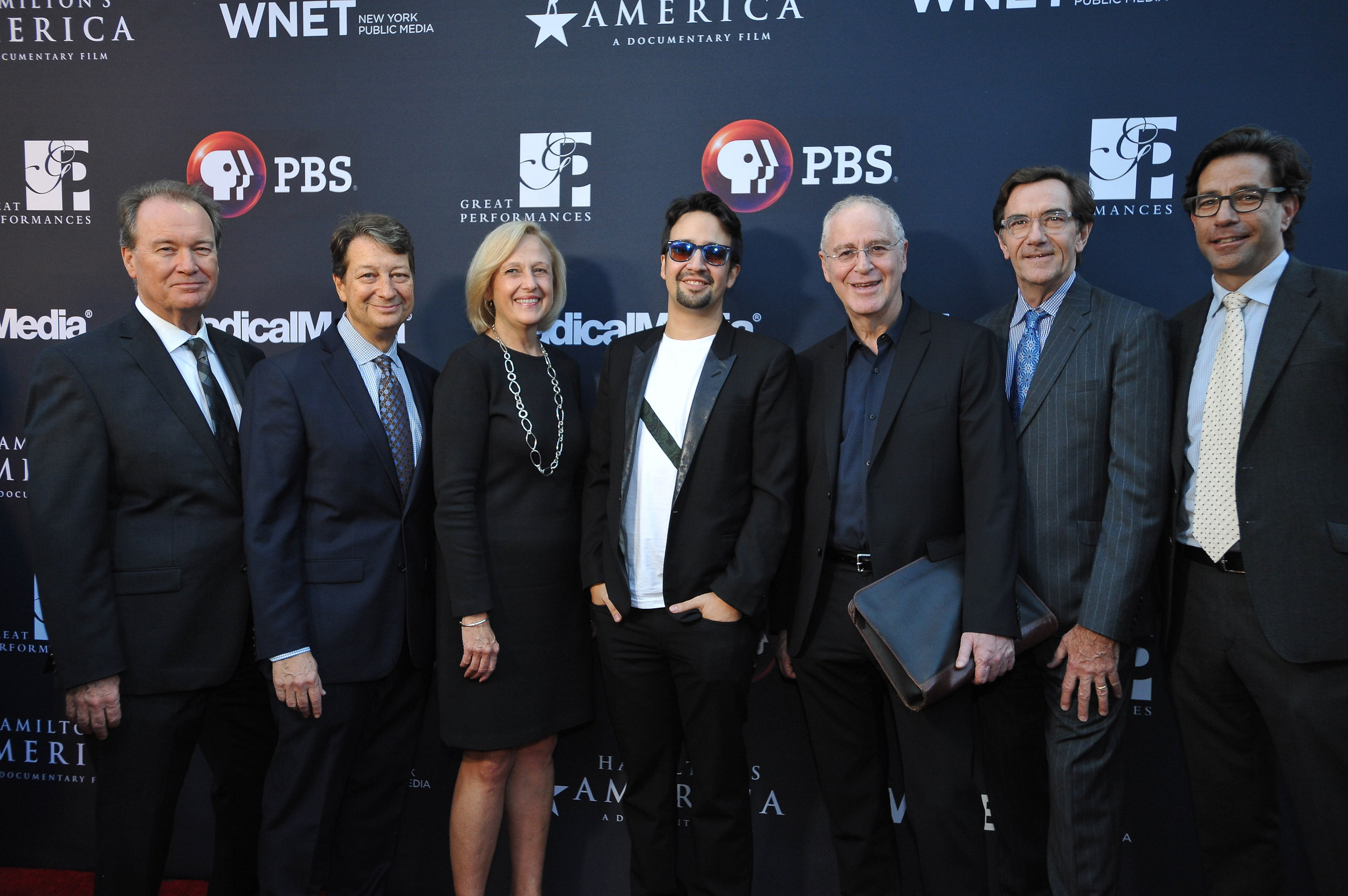 "PBS Exectuives and Lin-Manuel Miranda on the red carpet at the official screening of ""Hamilton's America"" at the Union Palace Theatre in Washington Heights.  ©Stephanie Berger"