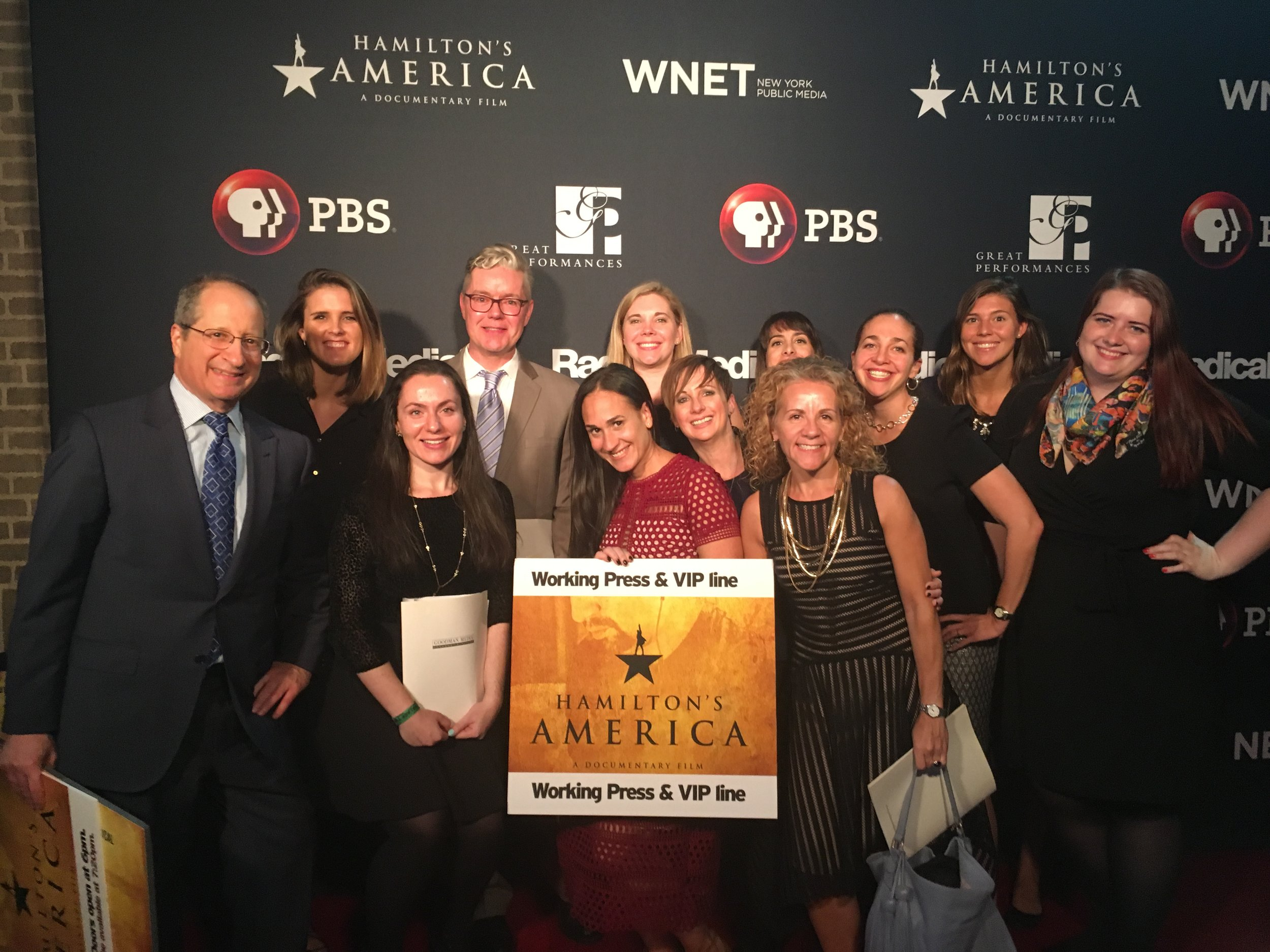 "The GMI team was red carpet ready at last night's premiere event for our client @pbs' new documentary ""Hamilton's America"". Watch the PBS premiere this Friday, October 21! #HamildocPBS"