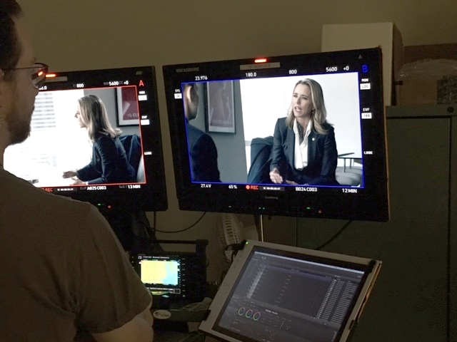 A behind-the-scenes shot of actress Téa Leoni filming a scene for an upcoming episode of  Madam Secretary . Look for our offices in episode 9 of season 3.