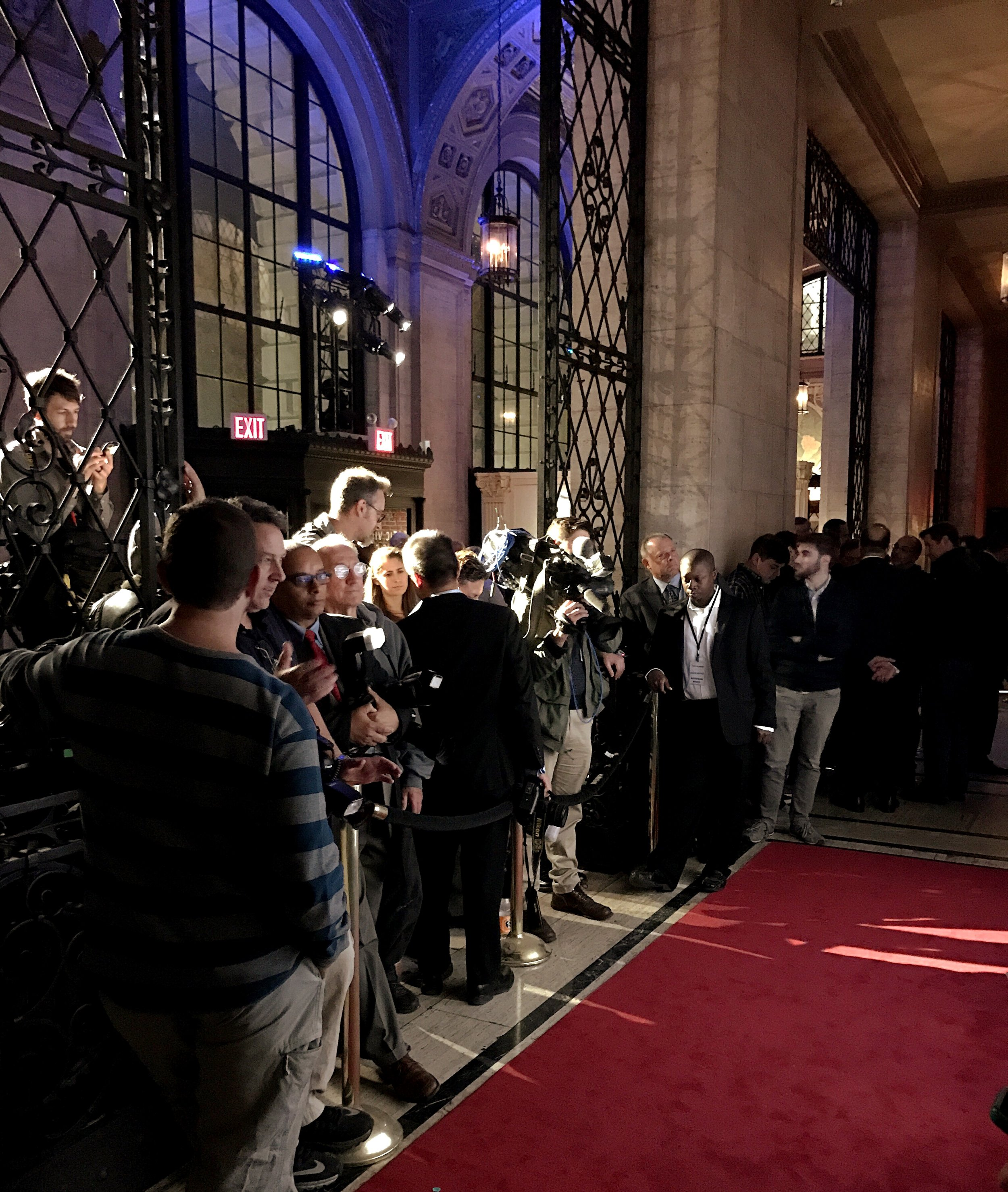 Behind-the-scenes look at media ready to capture the red carpet at The Safe At Home Foundation's annual gala at Cipriani 25 Broadway.