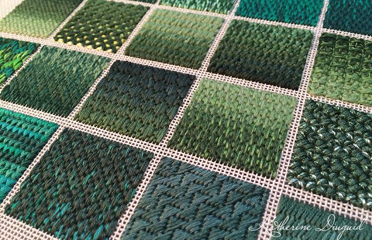 Green Canvaswork Sampler- detail