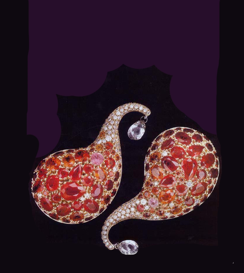 """""""1001 Nights"""" Oversized Clip Earrings: 18K Yellow gold and platinum, 25.66ct. rubbies, and various shades of pink sapphires, 1.68ct. white diamonds pav´, 2 diamond briolettes 1.86ctTW."""