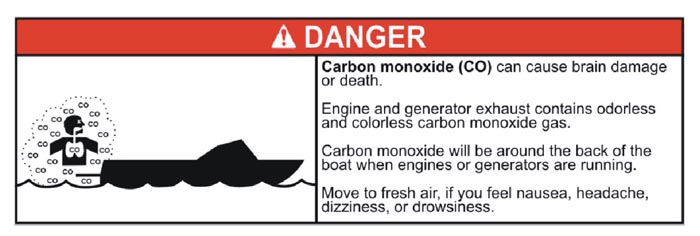 Carbon monoxide warning label developed for NMMA.