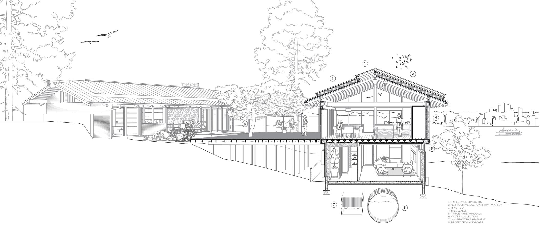 Architectural rendering by The Miller Hull Partnership of the Loom house
